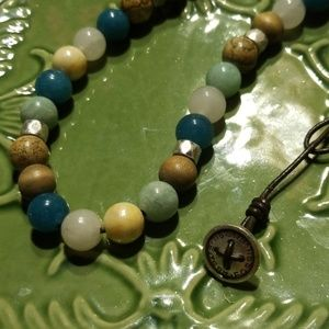Beautiful stone bead fossil necklace